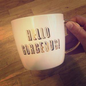 hello gorgeous gold mug
